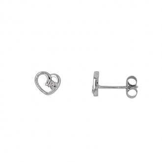 Boucles d'Oreilles Carador coeur Or blanc 375/000, Oxyde de Zirconium