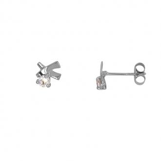 Boucles d'oreilles Carador fantaisie croisé or blanc 375/000 et oxyde de zirconium de 0,20 cts
