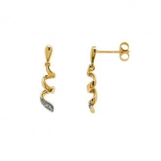 Boucles d'oreilles Carador spirales or bjaune 375/000 et oxydes de zirconium