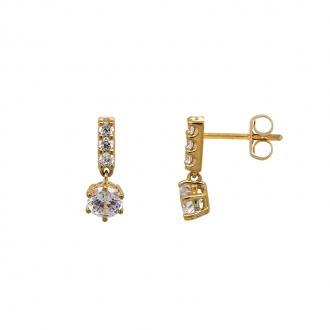 Boucles d'oreilles Carador pendantes fantaisie or jaune 375/000 et oxydes de zirconium 2,12 cts