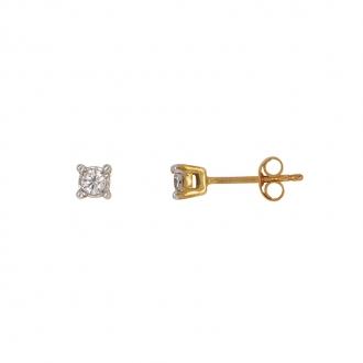 Boucles d'oreilles Carador solitaire or jaune 375/000, diamant 0,15 cts