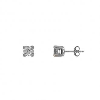 Boucles d'oreilles Carador solitaire or blanc 375/000, diamant 0,40 cts