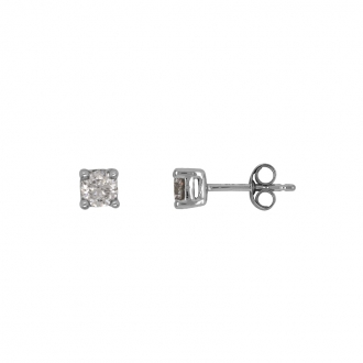 Boucles d'oreilles Carador diamant 0,50 cts or blanc 375/000