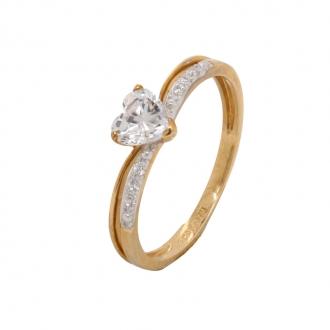 Bague Carador solitaire cœur accompagné or blanc 375/000 et oxydes de zirconium