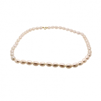 collier de perles grain de riz 6 mm Carador en or 375/000