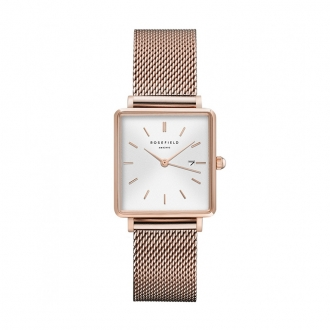 Montre Rosefield The Boxy maille milanaise dorée rose QWSR-Q01