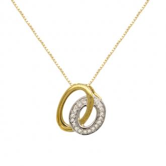 Collier Carador Or bicolore 375/000 pendentif cercle diamant 0,04 cts