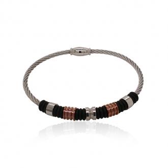 Bracelet Homme Carador cable acier argenté et caoutchouc