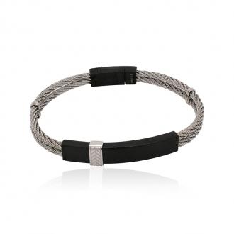 Bracelet Homme Carador cable acier double rang et plaque acier noir