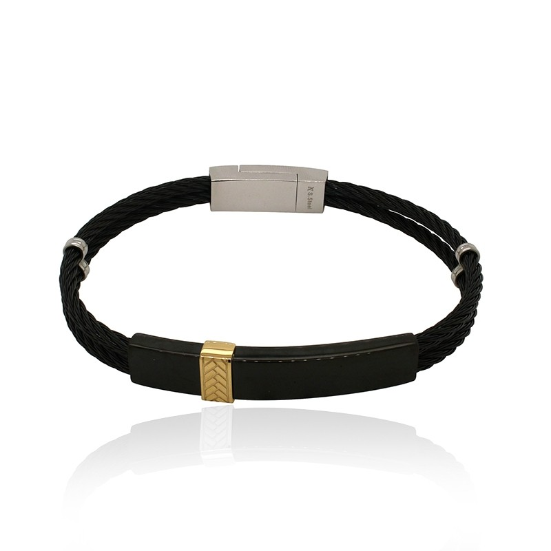 Bracelet Homme Carador cable acier double rang et plaque acier noir et doré