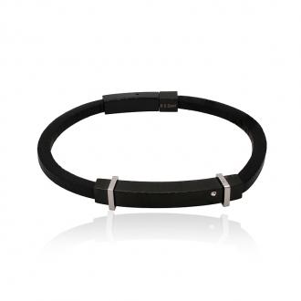 Bracelet Homme Carador cuir noir et plaque acier noir et argenté