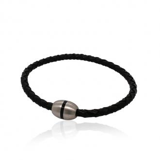 Bracelet Homme Carador cuir tressé noir et fermoir acier