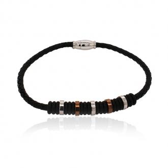 Bracelet Homme Carador cuir tressé noir et perles acier et caoutchouc