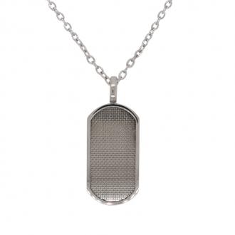 Collier Homme Carador plaque ovale en acier gris clair