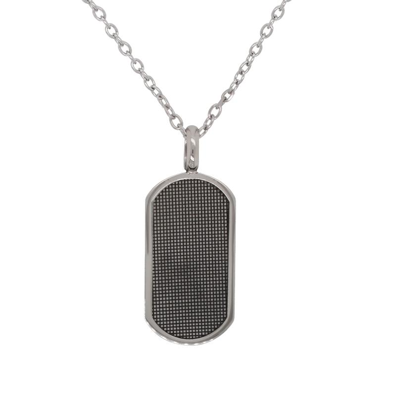 Collier Homme Carador plaque ovale en acier gris foncé