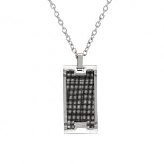 Collier Homme Carador plaque rectangulaire en acier argenté