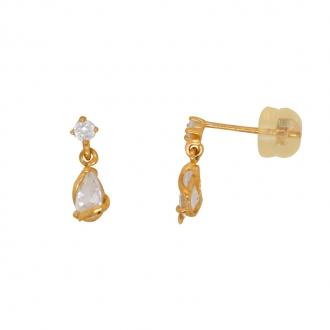 Boucles d'oreilles Carador pendantes or jaune et oxydes de zircionium