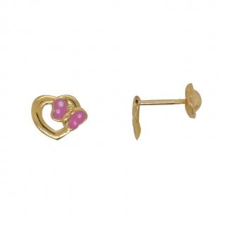 Boucles d'oreilles Carador coeur avec papillon en or jaune 375/000