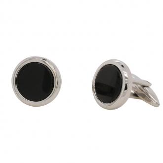 Bouton de manchette carador en acier inoxydable noir