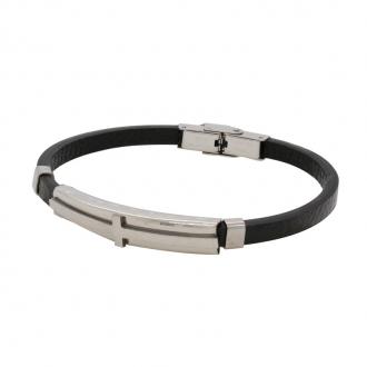 Bracelet en cuir et acier inoxydable carador