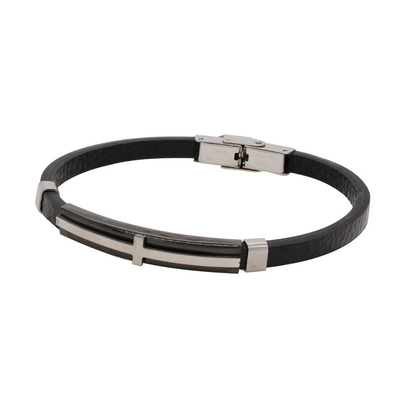 Bracelet en cuir et acier inoxydable noir carador