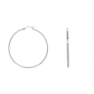 Boucles d'oreille créoles en acier forme plate ESH37W