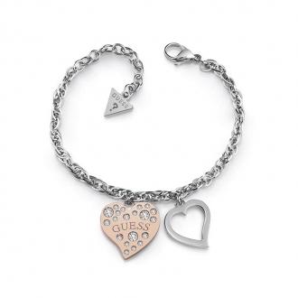 Bracelet Guess Heart warming argenté et doré rose UBB78095-S