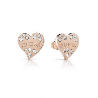 Boucles d'oreilles clous en acier doré rose GUESS UBE78053