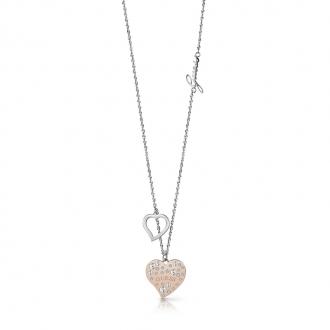 Collier Guess Heart warming argenté et doré rose UBN78067