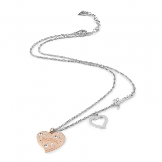 Collier Guess Heart warming argenté et doré rose UBN78067