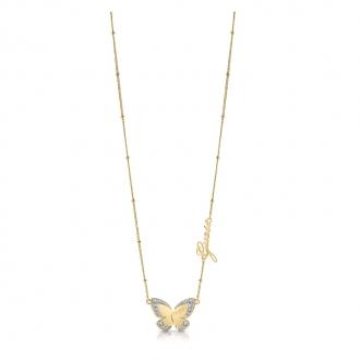 Collier Guess Love Butterfly métal doré UBN78025