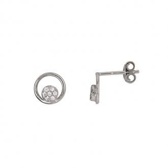 Boucles d'oreilles Carador cercles argent 925/000 et oxydes de zirconium