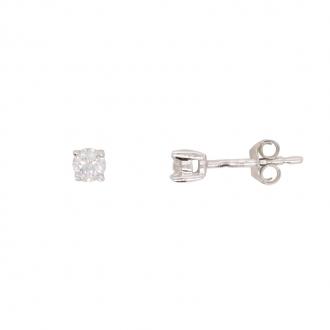 Boucles d'oreilles solitaire or blanc 750/000 et diamant