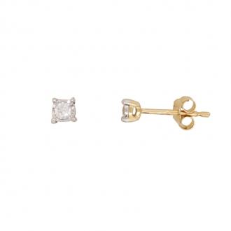 Boucles d'oreilles solitaire or 750/000 et diamant