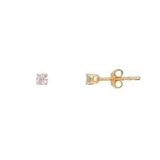 Boucles d'oreilles solitaire or jaune 750/000 et diamant