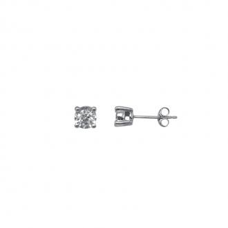 Boucles d'oreilles Carador Or blanc 750/000 et diamant 0.3 ct