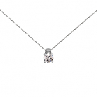 Collier solitaire Carador or blanc 750/000 et diamant 0,40 cts