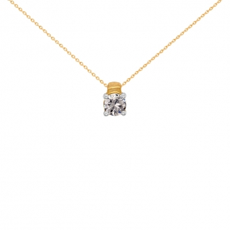 Collier Solitaire Carador Or jaune 750/000 et diamant 0,40 cts