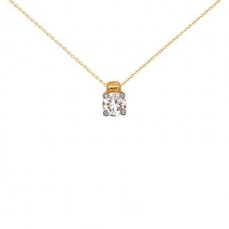 Collier Solitaire Carador Or jaune 750/000 et diamant 0,30 cts