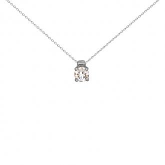 Collier Solitaire Carador Or blanc 750/000 et diamant 0,2cts