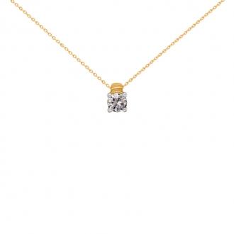 Collier Solitaire carador Or jaune 750/000 et diamant 0,2 cts