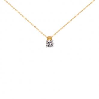 Collier Solitaire carador Or jaune 750/000 et diamant 0,03 cts