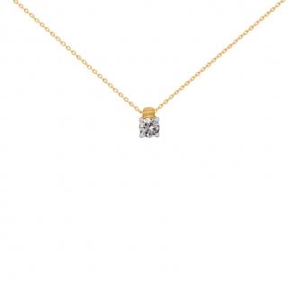 Collier Solitaire carador Or jaune 750/000 et diamant 0,1 cts