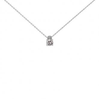 Collier Solitaire carador Or blanc 750/000 et diamant 0,1 cts