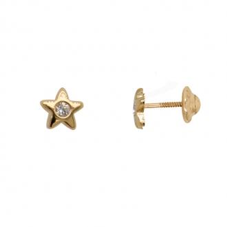 Boucles d'oreilles clous étoile au coeur oxyde de zirconium or 375/000 Carador