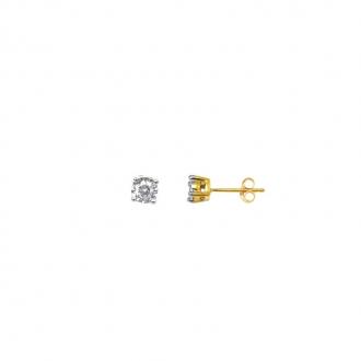 Boucles d'oreilles Carador Solitaire Or jaune 750/000 et diamant