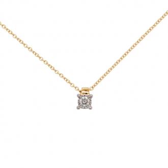 Collier solitaire Or jaune 750/000 et diamant 0,07 cts serti quatre griffes en pendentif