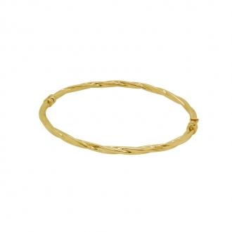 Bracelet jonc torsade carador en or jaune 750/000