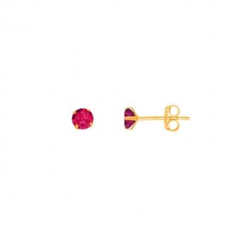 Boucles d'oreilles femme Carador or jaune 750/000 et rubis