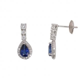 Boucles d'oreilles pendantes CARADOR or blanc 750/000 diamant et saphir.